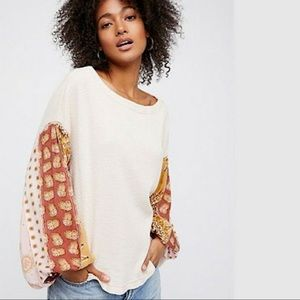 Free People Sweater Silk Scarf Blossom Sleeves